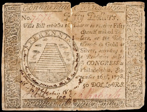 Continental Congress. September 26, 1778. Fifty Dollars, #2250 Colonial Currency