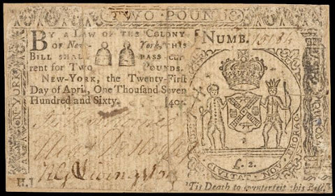 April 21, 1760 New York Two Pounds Note, #2276 Colonial Currency