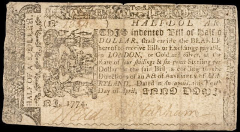 Maryland. April 10, 1774. Half a Dollar, #2290 Colonial Currency