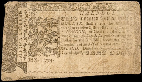 Maryland. April 10, 1774. Half a Dollar, #2291 Colonial Currency