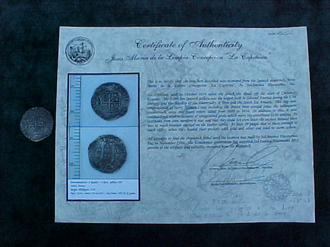 Spanish New World Silver 8 Reales COB, POTOSI, E, PHILIP IV, From The Shipwreck; #2345 La Capitana,1654