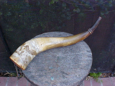 Fantastic Large American WAR OF 1812 Cannon Priming Powder Horn w/Owners Name;'Sm. Wm. BROWN, HIS HORN, SACKETTS HARBOUR At Ye LAKE, Year 1813', #2350 Powder Flasks