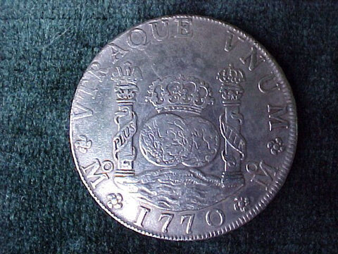 Spanish New World Silver 1770 MEXICO, MF, 8 Reales PILLAR SCREW PRESS, #2382 Colonial Coins