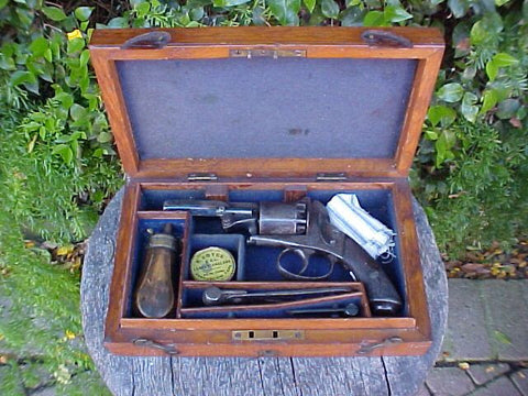 English Baby Bently Percussion Revolver, Cased w/Accessories, #2436 Firearms