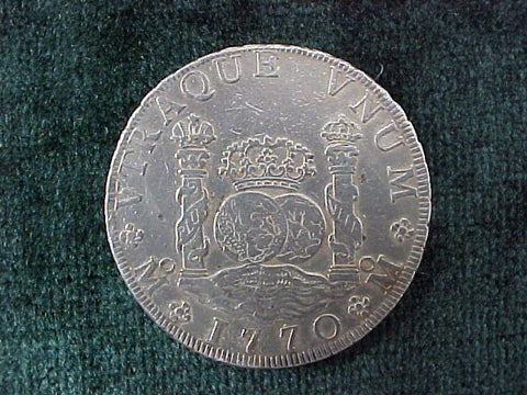 Spanish New World Silver 1770 MEXICO, MF, 8 Reales PILLAR SCREW PRESS, #2537 Colonial Coins