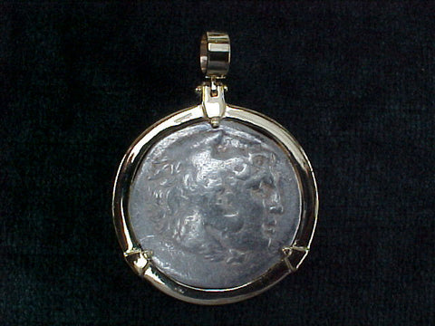 Greek Alexander The Great Silver Tetradrachm 336 - 323 BC, Professional Set in 14K GOLD,  #2540 Ancient Coin Jewelry