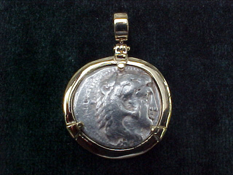 Greek Alexander The Great Silver Tetradrachm 336 - 323 BC, Professional Set in 14K. GOLD,  #2544 Ancient Coin Jewelry