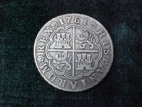 Spanish Old World Silver 4 Reales Dated 1761, Carolus III, JP, #2557 Colonial Coins