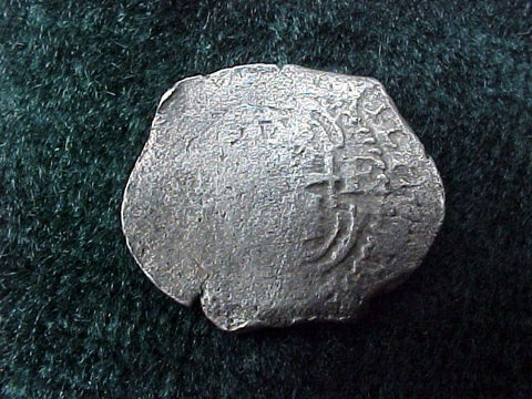 Spanish New World, Silver 1 Reale PILLAR & WAVE TYPE COB, POTOSI, E, CHARLES II, #2585 1715 Plate Fleet
