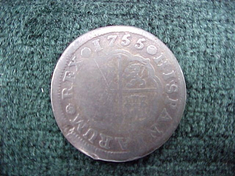 Spanish Old World Silver 1 Reales Dated 1755, FERDIN VI, Madrid, I B, #2590 Colonial Coins