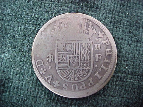 Spanish Old World Silver 2 Reales Dated 1721, PHILIP V, SEGOVIA SPAIN, F, #2591 Colonial Coins