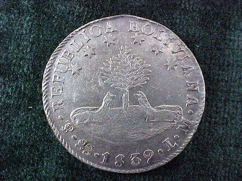 Silver 8 SOLS Dated 1839, BOLIVIA, L M