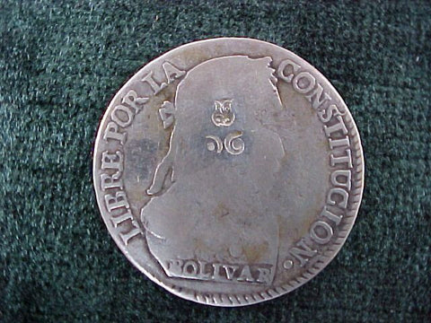 Silver 4 SOLS Counterstruck, Dated 1830, BOLIVIA, I L, #2599 Colonial Coins