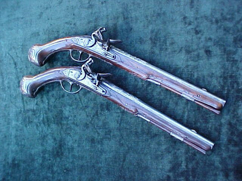 (PAIR) of Dutch or Greek Flintlock Holster Pistols, #2636