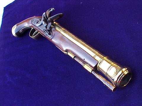 AS SEEN ON LORDS OF WAR ! A Massive American Flintlock Brass Barrel Blunderbuss Pistol, #2653 Firearms