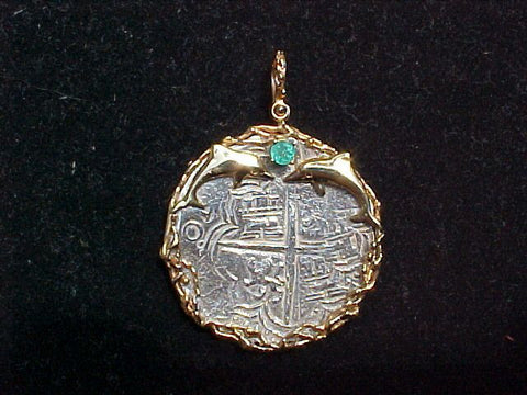 Atocha 1622 8 Reales COB set in 14 k. Gold Bezel, #2713 Treasure Jewelry