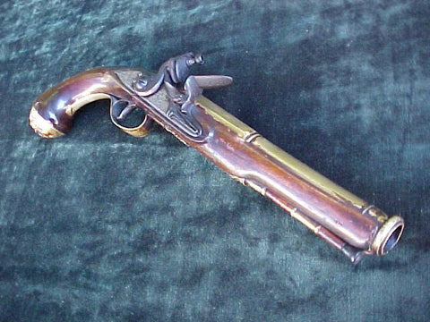 Colonial English Brass Barrel Flintlock Blunderbuss Pistol by WW MASON, #2826 Firearms