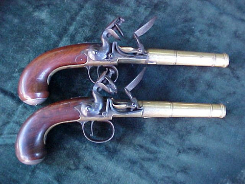 (PAIR) of English Brass Silver Mounted Queen Anne Flintlock Pistols, #2833 Firearms