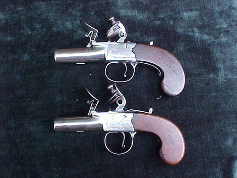 (2) English Box-Lock Flint Pistols almost forming a pair used as 'props' in 'TURN', #2903 Firearms