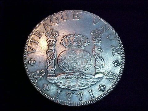 Spanish New World Silver 1771 MEXICO, MF, 8 Reales PILLAR SCREW PRESS, #2956 Colonial Coins