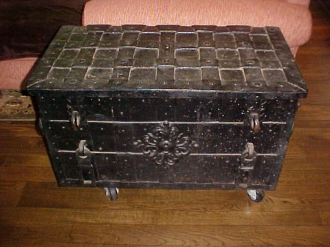 A LARGE 16th-17th Century Wrought Iron Treasure Chest (ARMADA BOX), #2971 Treasure Artifacts