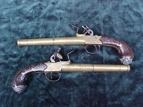 A Fine (PAIR) of Full Size English Silver Mounted Brass Box-Lock Flint Pistols by, CLARKSON, LONDON, #3035 Firearms