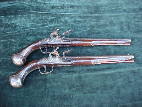 Interesting (PAIR) of French Flintlock Holster Pistols made in the Dutch form, #3076 Firearms