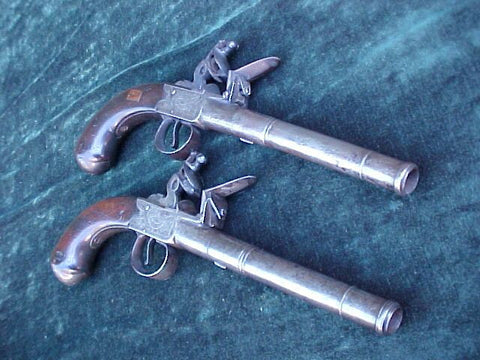 (PAIR) of English Box-Lock Flint Pistols by, RICHARDS, STRAND, LONDON, #3090 Firearms