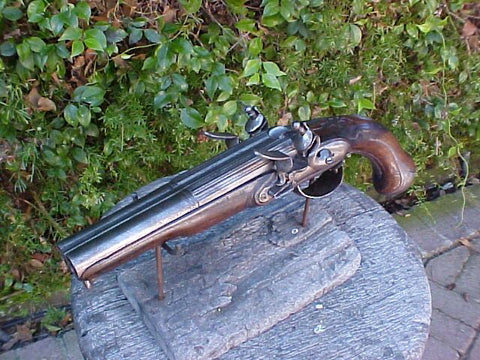 A Good French Double Barrel Flintlock Pistol