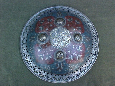An Indian Engraved and Enameled Shield #3173