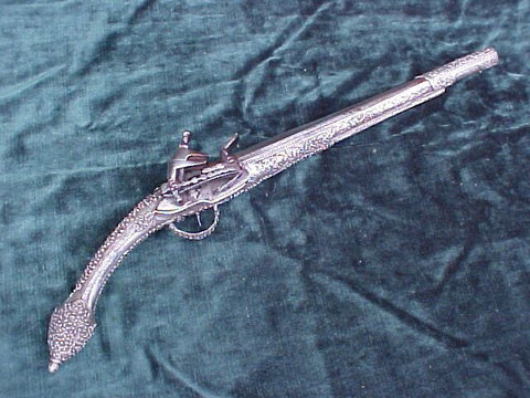 A Good Albanian Silver Stocked Miquelet Flint Pistol, #3203 Firearms