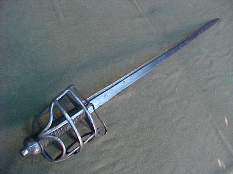 A Good British Military Basket Hilt Grenadiers Broadsword made for the horseman.