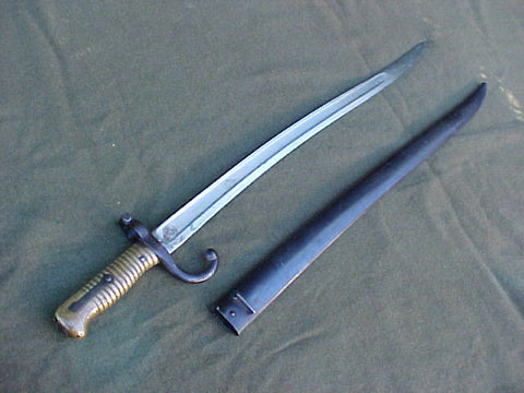 A Fine Antique Third Republic Model 1866 Chassepot Bayonet with Scabbard Dated 1872, #3266 Edged Weapons