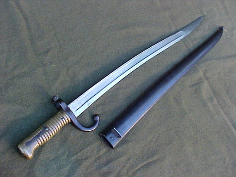 A Fine Antique Third Republic Model 1866 Chassepot Bayonet with Scabbard Dated 1874, #3267 Edged Weapons