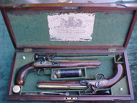 A Great Cased PAIR of English Flintlock Pistols with Brass Barrels and Locks by, CLARK & RODGERS, LONDON, #3282 Firearms