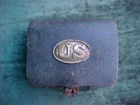 Civil War Leather Cartridge Box with Brass US Plate, #3295 Militaria