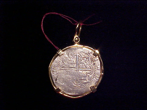 ATOCHA 1622 Potosi 2 Reales COB set in 14k. Gold, #369 Treasure Jewelry