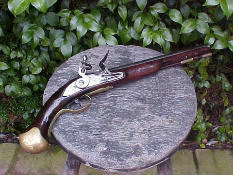 Dated Pattern 1718 British Royal Navy Long Sea Service Flintlock Pistol w/Belt Hook, VERNON, 1761, #595 Firearms