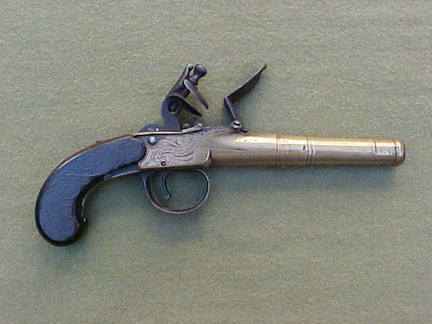 English All Brass Box-Lock Flint Pistol, Owner Marked Samuel Platt Broome, 1785 (A New York City Merchant), BUNNEY, LONDON, #631 Firearms