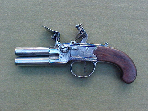 English Over & Under Tap Action Box-Lock Flint Pistol by DURS EGG, LONDON, #639 Firearms