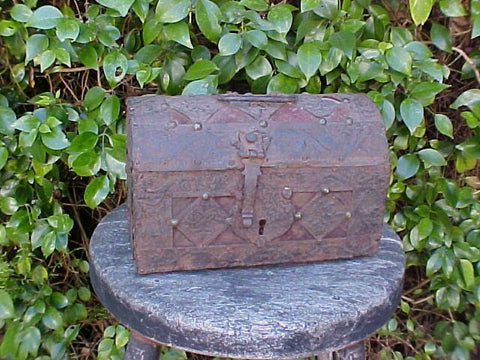 Small European Strap Iron Over Wood Casket/Chest, #779 Treasure Artifacts