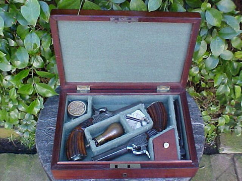 A Cased Set of Belgian Percussion Box-Lock Pocket Pistols, #780 Firearms