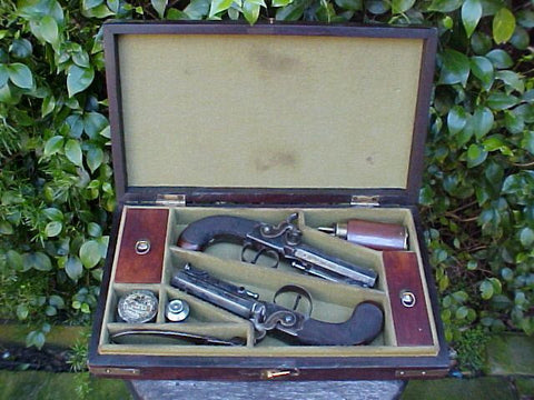 Cased Pair of Box-Lock Percussion Belt Pistols by RICHARDSON, CORK w/Accessories