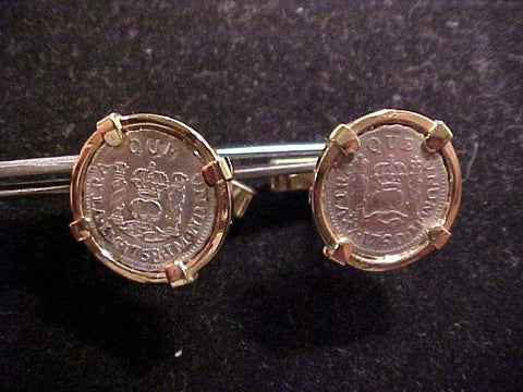 Pair of 1/2 Reale Pillar Type Coin 14K GOLD Cuff-links, #886 Treasure Jewelry