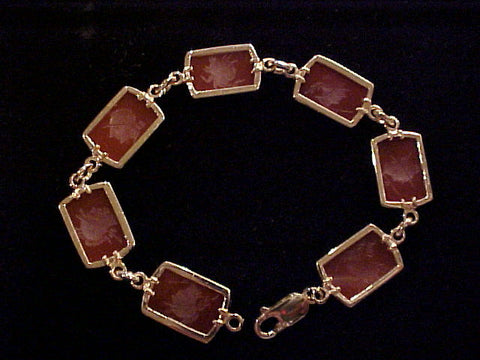 14K Yellow GOLD & Carved, Chalcedony (Red Carnnelian), #887 Custom Jewelry