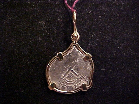 1715 FLEET 1 Reale COB Set in a 14K GOLD Pendent