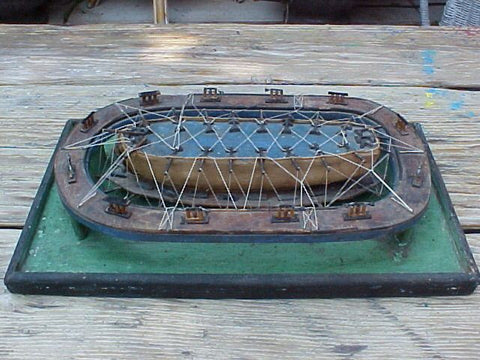 19th Century Model of a Ship Undergoing Work on a Floating Dry Dock, #941 Nautical Antiques