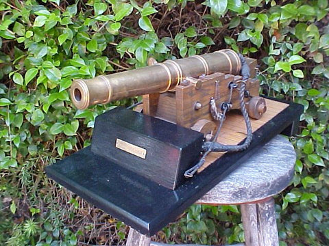 A Scale Model of a War of 1812, 18- Pound Naval Cannon on a Deck Plane, #987 Cannons