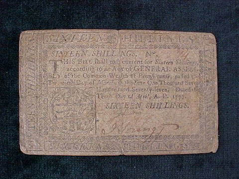 American Colonial Continental Currency, #993 Sixteen Shillings Denomination