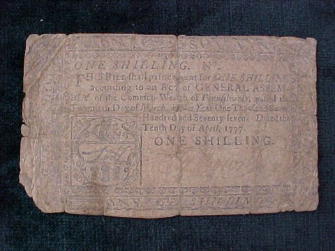 American Colonial Continental Currency, #994 One Shilling Denomination